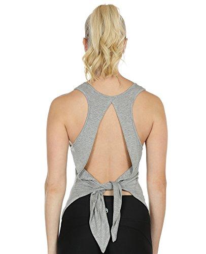 icyzone Damen Sexy Yoga Tops Sport Oberteil Rückenfrei Workout Fitness Shirt Ärmellos (M, Grey) (Top Ärmelloses Active)