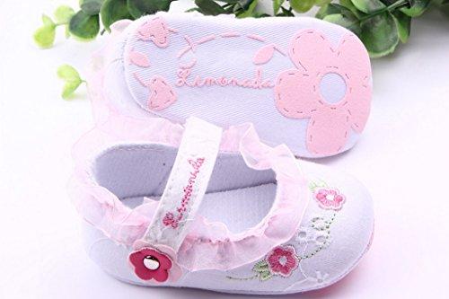 Smile YKK Geblümt Lace Ballet Stil Baby-Mädchen Lauflernschuhe 13 Pink Weiss