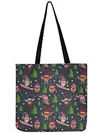 5db906626e Vector, borsa a tracolla in tela con motivo a gufi, per uomini e donne