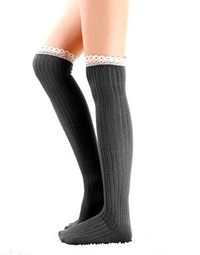 TININNA Lady Fashion Cute Knitted Crochet Leg Warmer Sock with Lace Trim Test