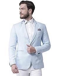 Priambh Men's Single Breasted Notch Lapel Regular Fit Blazer (Aqua)