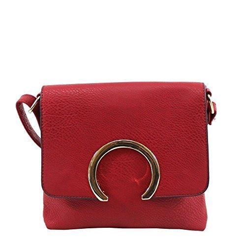 Dekoration für NEU S Small Gold Kunstleder Haute Handtasche Damen Umhängetasche Schultertasche Rot Rot Diva tXqCnw