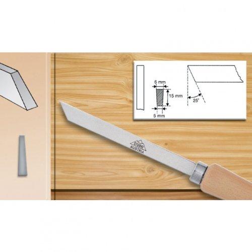 Stubai 363206 Bédane pour tourneur avec manche en bois, Argent/Beige, 5 x 15 mm
