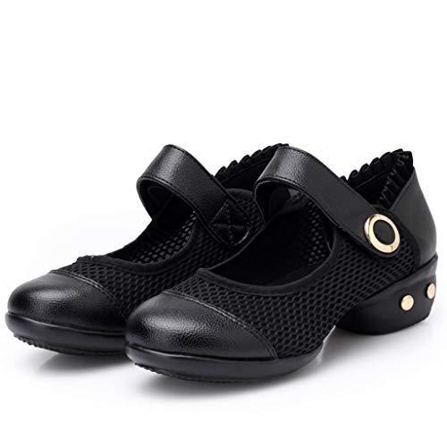 Dasongff Tanzschuhe Damen Ballettschuhe Modern Ballrom Latein Dance Schuhe Ledersohle Mary Jane Halbschuhe Hoher Absatz