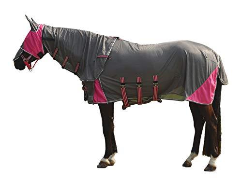 netproshop Set Fliegenmaske und Fliegendecke mit Abnehmbarem Hals für die Kleinen, Groesse:95, Farbe:Paradise Pink