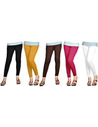 388903faea02d Naisargee Women's and Girl's Silk Poly Cotton Multicolor Ankle Length  Leggings Combo Pack 5 - (