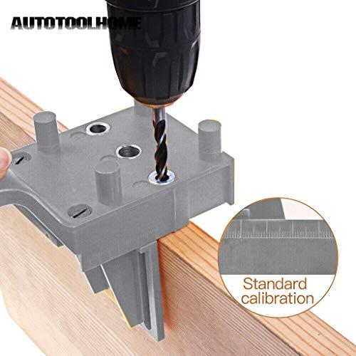 TianranRT❄ Schräglochsucher,Geradlochsucher Mit Metallhülse Jig Metal Für Die Holzbearbeitung (Grau) -