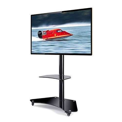 RFIVER Universal TV Ständer Mobil mit Rollen Rollbar für 32-65 Zoll Trolley Standfuß Schwenkbar Höhenverstellbar für LCD LED OLED Plasma TV TF4001 (Tv-bodenständer Räder)