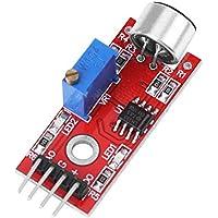 Akozon módulo de micrófono, módulo de amplificador de audio de micrófono de alta sensibilidad a DC de producto de baja ganancia sonido 20 dB 3.3V / 5V Sensor de sonido de voz para Arduino