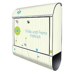 Banjado Design Briefkasten personalisiert mit Motiv WT Zarte Blumen | Stahl pulverbeschichtet mit Zeitungsrolle | Größe 38x47x14cm, 2 Schlüssel, A4 Einwurf, inkl. Montagematerial mit Beschriftung