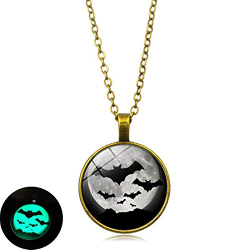 (Blisfille Halloween Black Bat Leuchtende Halskette Zeit Edelstein Glas Legierung Anhänger Herren Damen Geschenk)