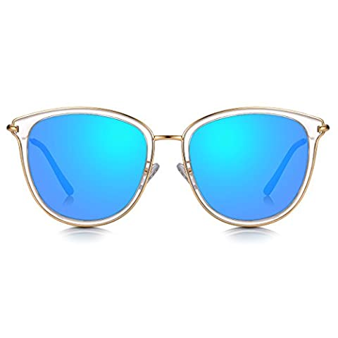 Sunglass Junkie Womens Clear Crystal and Gold Classy Butterfly Cat Eye Sunglasses. 100% UV Protection Ocean Blue Mirror Lenses. Gold Metal Arms and Frame detail & UV400 Lenses