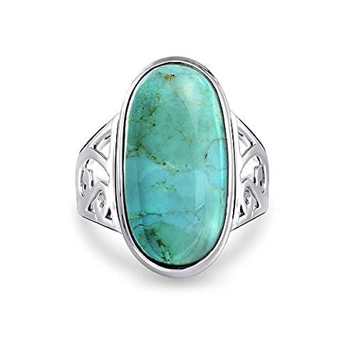 Bling Jewelry ovale turquoise pendentif en argent Bague Cocktail de défilement