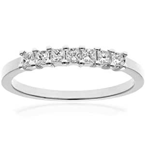 Naava 18 ct White Gold Eternity Ring, J/I Certified Diamonds, Princess Cut, 0.33ct