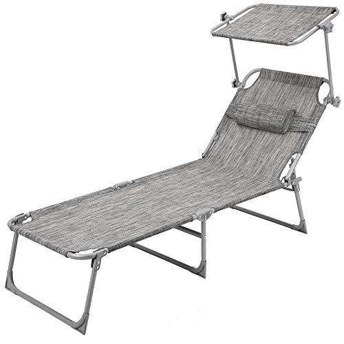 Songmics sedia a sdraio poltrona lettino letto pieghevole reclinabile per spiaggia piscina giardino al mare gcb19t