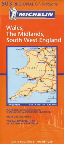 Carte RGIONAL Wales, The Midlands, South West England par Collectif Michelin