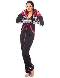 Loomiloo® Jumpsuit Onesie Overall - VIELE Farben - als Freizeitanzug Overall Hausanzug Einteiler Strampler Trainingsanzug Pyjama mit Norweger Muster für Damen und Herren