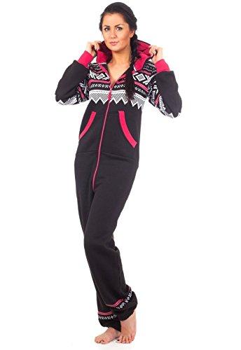 Loomiloo® Jumpsuit Onesie Overall als Freizeitanzug Hausanzug Trainingsanzug Pyjama für Damen und Herren (M/L, Schwarz)