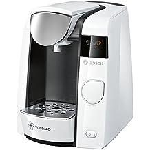 Bosch TAS4504 Tassimo Multi-Getränke-kaffeeautomatJOY (mit Brita Wasserfilter, Getränkevielfalt, 1-Knopf-Bedienung), Clear White / anthrazit