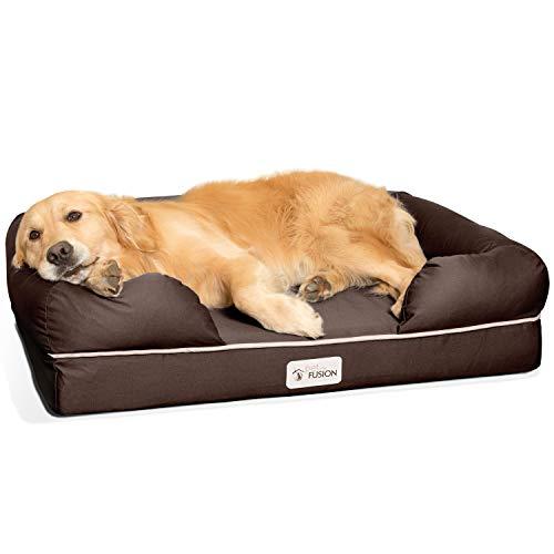 Cama de espuma viscoelástica para perros medianos y grandes, Marrón (Large Bed), 91 x 71 x 23...