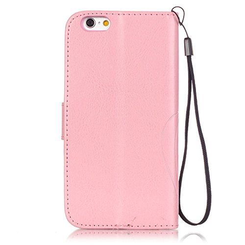 JIALUN-Telefon Fall Mit Kartensteckplatz, Lanyard, geprägte Mode Open Handy Shell für IPhone 7 ( Color : Rose Red , Size : IPhone 7 ) Pink