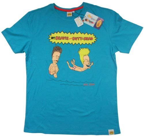 ACTS- MTV Beavis & Butthead -  T-shirt - Logotipo - Uomo Carribean Sea Medium