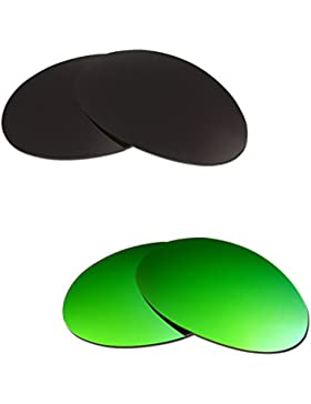 Hkuco Plus Mens Replacement Lenses For Oakley Romeo 1 Black/Emerald Green Sunglasses