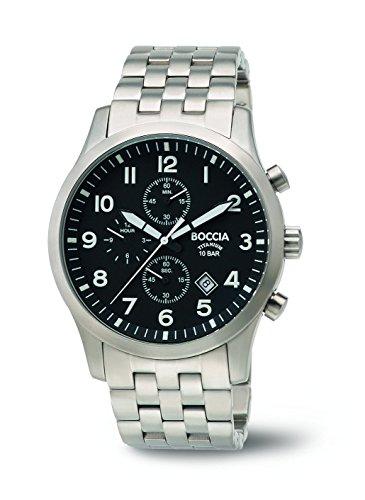 Boccia-Orologio da uomo al quarzo con Display analogico e braccialetto in titanio 3755-02 B, colore: argento