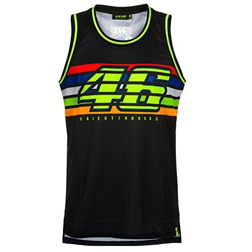 VR46 Valentino Rossi Herren Tank Top schwarz gestreift #46 Offizieller Merchandise, schwarz, Mens (XXL) 122cm/48 Inch Chest