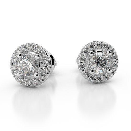 Or blanc 18carats 0,66CT G-H/VS sertie de diamants taille ronde Halo Boucles d'oreilles Agder-0255