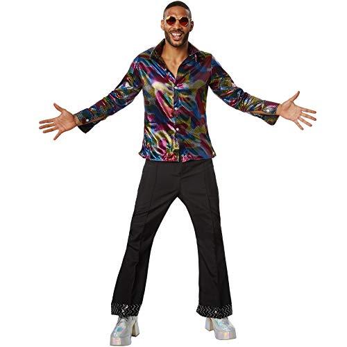 dressforfun 900381 - Herrenkostüm Disco King, Langarmhemd aus Buntem Glanzstoff und Schlaghosen (L | Nr. 302167) (Für Disco-outfit Männer)
