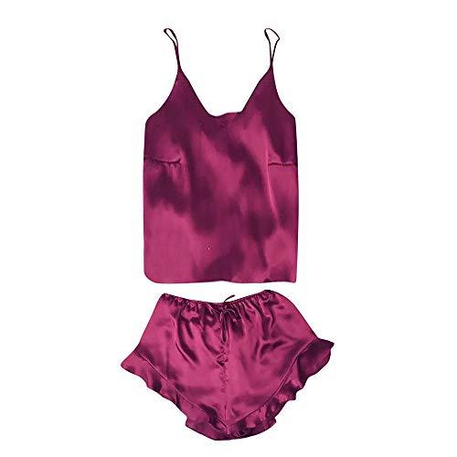 B-commerce - Zweiteilige Schlafanzug-Sets - Damen Nachtwäsche ärmelloses Band Nachtwäsche Spitze Patchwork Trim Satin Cami Top ()