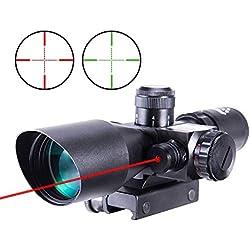 IRON JIA'S Lunettes de visée Optique de Rifle 2.5-10x40ER Chasse Rouge/Vert Riflescope Laser avec Red Dot Champ Combo Airsoft Gun Arme Sight