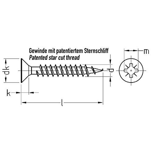 JD Plus Universalschrauben Senkkopf-Z, Vollgewinde galv. verzinkt - 4 x 16 - 1000 Stück