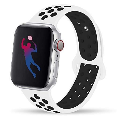 GIPENG para Correa Apple Watch 42MM 44MM, Suave Malla Silicona Correa, para iWatch Series 3, Series 2, Series 1, Nike+, Edition, Hermes (Platino Puro/Negro, 42MM-ML)
