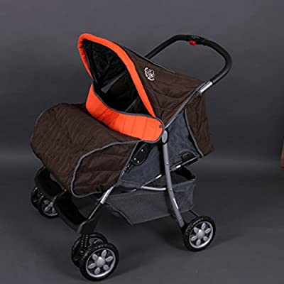Lujoso tandem-cochecito para gemelos naranja - BambinoWorld