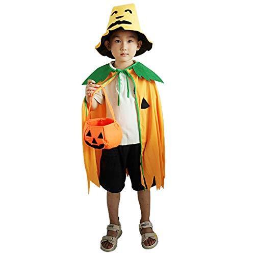 Kapmore Kinder Halloween Kostüm Set Süßes Kürbis Halloween Cape mit Hut & Candy Bucket (Candy Maker Kostüm)