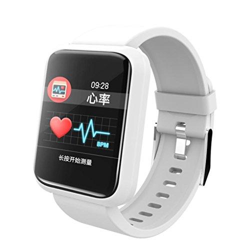Fuibo Fitness Tracker Smartwatch, Sport Smart Watch Herzfrequenz-Blutdruckmessgerät Wasserdichtes Armband Intelligente Armbanduhr Fitness Tracker Armband Sport Uhr (Weiß)