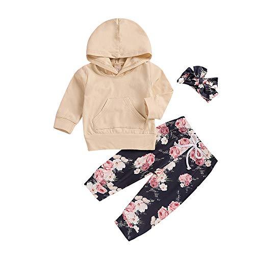 ugeborenes Mädchen Jungen Kleidung Lange Ärmel Hoodie Sweatshirt Top + Hosen +Haarband Outfits Spielanzug Set Tops Hut Outfit Set Kleidung Baby Kleidung Set ()