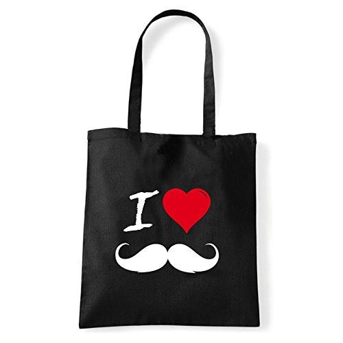 Art T-shirt, Borsa Shoulder I Love Mustache, Shopper, Mare Nero