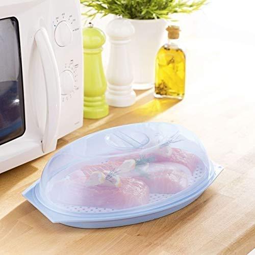 GKA Mikrowelle Garer mit Siebeinsatz Deckel und Dampfventil Dampfgarer 29 x 20 cm Dose Tablett für Fisch Geflügel