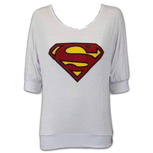 Nuove donne d'avanguardia Superman Batwing Top Baggy Style top Superman logo sul davanti dalla spalla vestito dalla parte superiore Dimensioni 36-42 Bianco