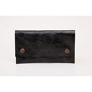 Schwarz Leder Handgefertigt Tabakbeutel Tabaktasche