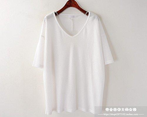 Xmy Sommer Farbe V-Ausschnitt Strick Shirt T-Shirt Frauen locker und vielseitig einsetzbare Short Sleeve T-Shirt T-Shirt ist EIN Zahlensystem, Weiß