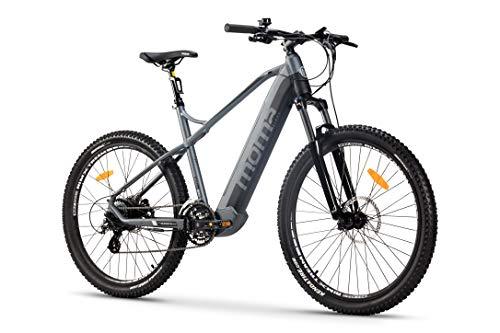 Moma Bikes Vélo Electrique E-MTB 27,5' M-L Susp. Avant & Freins Disque Hydraulique avec Batterie Intégrée Adulte Unisexe, Gris, M-L