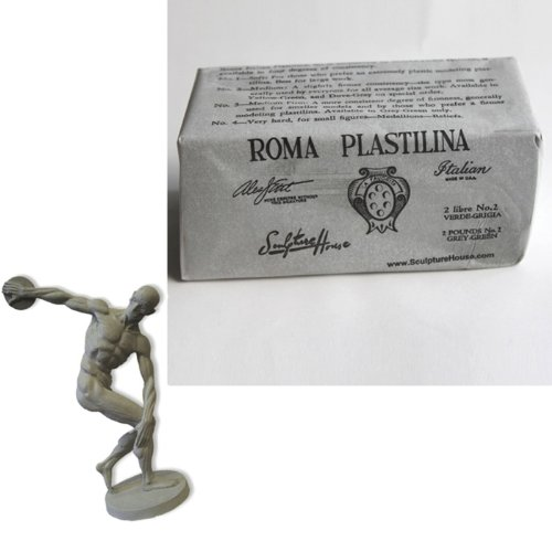 2 Lb Block (Sculpture House Modelliermasse Roma Plastilina grau-grün No. 2 - Medium)
