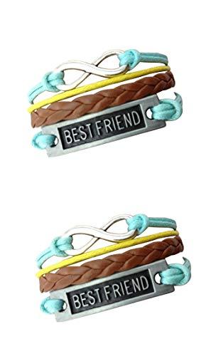 Imagen de strass & paillettes lote de dos pulseras best friend blue brown y yellow con un enlace de plata infinito. regalo de mejor amigo