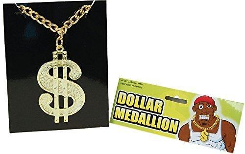 Schicke Party Mode Bling Accessoire 1980er Dollar Medaillon Auf Kette (Kostüm Ideen Party Dollar)