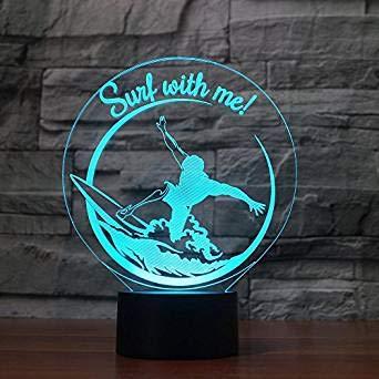 3D Illusion Surfing Lámpara luces de la noche ajustable 7 colores LED Creative Interruptor táctil estéreo visual atmósfera mesa regalo para Navidad