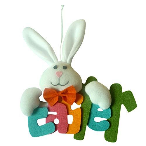 SEEGOU Ostern Kaninchen Anhänger Zubehör Hölzerne Bunny Frohe Ostern niedlichen Kaninchen Party Decor Ornamente Kinde Spielzeug Geschenk Niedlichen Cartoon Wohnaccessoires (23 x 21 cm, ()